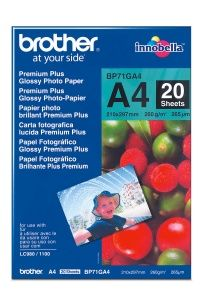BROTHER BP71GA4 Fotopapír 20 listů A4 Premium Glossy 260g