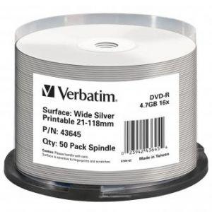 VERBATIM DVD-R Wide Silver Inkjet Printable No ID Brand