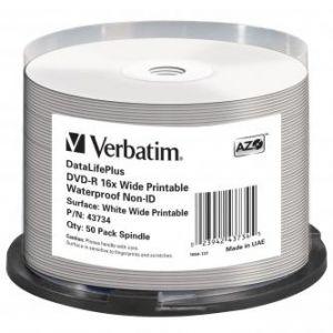 VERBATIM DVD-R, 43734, Waterproof, 50-pack, 4.7GB, 16x, 12cm, General, Standard, cake box,