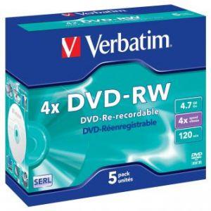 VERBATIM DVD-RW, 43285, DataLife PLUS, 5-pack, 4.7GB, 4x, 12cm, General, Serl, jewel box,