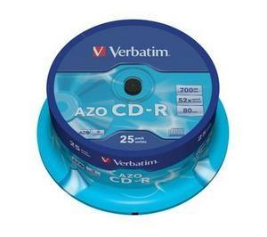 VERBATIM CD-R, 43352, DataLife PLUS, 25-pack, 700MB, Super Azo, 52x, 80min., 12cm, Crystal