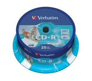 VERBATIM CD-R, 43439, DataLife PLUS, 25-pack, 700MB, Super Azo, 52x, 80min., 12cm, Printab