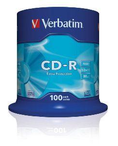 VERBATIM CD-R, 43411, DataLife, 100-pack, 700MB, Extra Protection, 52x, 80min., 12cm, bez