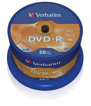 VERBATIM DVD-R, 43548, DataLife PLUS, 50-pack, 4.7GB, 16x, 12cm, General, Advanced Azo+, c