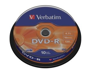 VERBATIM DVD-R, 43523, DataLife PLUS, 10-pack, 4.7GB, 16x, 12cm, General, Advanced Azo+, c