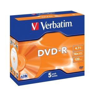 VERBATIM DVD-R, 43519, DataLife PLUS, 5-pack, 4.7GB, 16x, 12cm, General, Advanced Azo+, je