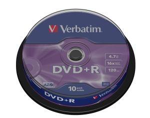 VERBATIM DVD+R, 43498, DataLife PLUS, 10-pack, 4.7GB, 16x, 12cm, General, Advanced Azo+, c
