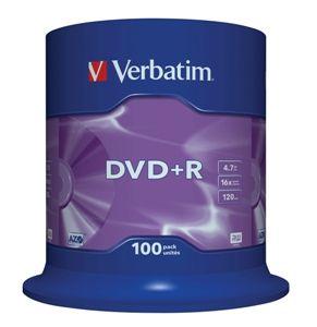 VERBATIM DVD+R, 43551, DataLife PLUS, 100-pack, 4.7GB, 16x, 12cm, General, Advanced Azo+,
