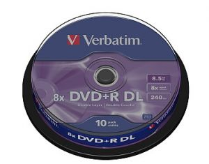 VERBATIM DVD+R, 43666, DataLife PLUS, 10-pack, 8.5GB, 8x, 12cm, General, Double Layer, cak