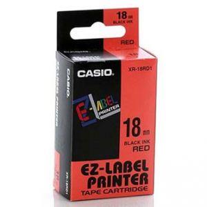 CASIO originální páska do tiskárny štítků, CASIO XR-18RD1, černý tisk/červený podklad, ne