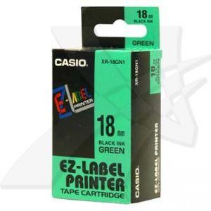 CASIO originální páska do tiskárny štítků, CASIO XR-18GN1, černý tisk/zelený podklad, nel