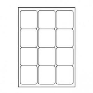 LOGO etikety 66mm x 70mm, A4, matné, bílé, 12 etiket, 140g/m2, baleno po 10 ks, pro inkous