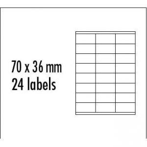 LOGO etikety 70mm x 36mm, A4, matné, červené, 24 etikety, baleno po 10 ks, pro inkoustové