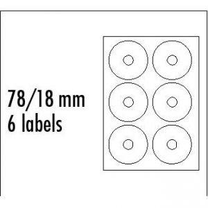 LOGO etikety na CD 78/18mm, A4, matné, bílé, 6 etiket, 140g/m2, baleno po 25 ks, pro inkou