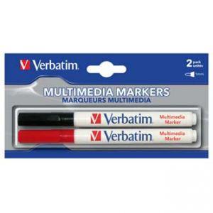 VERBATIM popisovač CD-R, černý, červený, 44125, 2 ks, Multimedia Marker