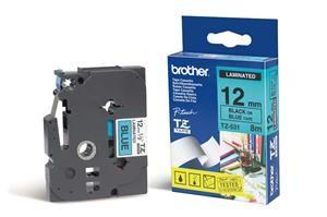 BROTHER TZe-531 modrá / černá (12mm Laminovaná)