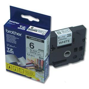 BROTHER TZe-211 6mm černý tisk/bílý podklad 6mm Laminovaná