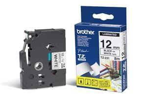 BROTHER TZe-231 černý tisk / bílý podklad 12mm 8m