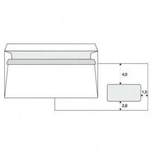 Obálka samolepicí 110 x 220mm bílá poštovní s DL okénkem 1000ks