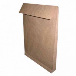 Obchodní taška B4, 250 x 353mm, hnědá, Krpa, s křížovým dnem, s krycí páskou