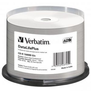 VERBATIM CD-R, 43745, DataLife PLUS, 50-pack, 700MB, 52X, Professional, 80min., 12cm, Wide