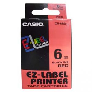 CASIO originální páska do tiskárny štítků, CASIO XR-6RD1, černý tisk/červený podklad, nel