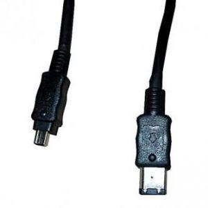 FireWire kabel IEEE 1394, IEEE 1394 (6pin) M- IEEE 1394 (4pin) M, 2m, černý, LOGO, blistr