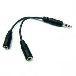 Audio Rozdvojka, Jack (3,5mm) M-Jack (3,5mm) 2x F, 0.2, stereo, černá, LOGO, s kablíkem