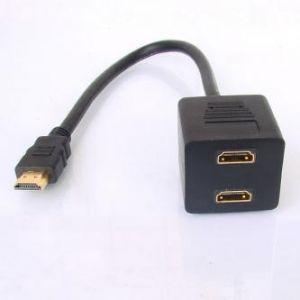 Audio/video Rozdvojka, HDMI M-HDMI 2x F, 0, černá
