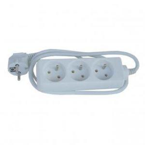 Síťový kabel 230V prodlužovací, CEE7 (vidlice)-zásuvka 3x, 2m, VDE approved, bílá