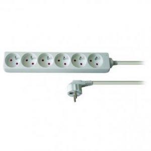 Síťový kabel 230V prodlužovací, CEE7 (vidlice)-zásuvka 6x, 2m, VDE approved, bílá
