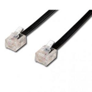 Telefonní kabel 4 žíly, RJ11 M-15m, černý, economy, pro ADSL modem