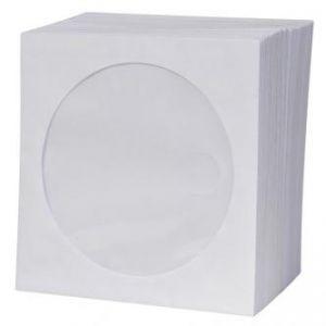 Obálka na 1 ks CD, papír, bílá, s okénkem, LOGO, 100-pack