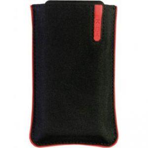 Pouzdro na mobil , černé, nylon, červený proužek, 105 x 45 x 15 mm