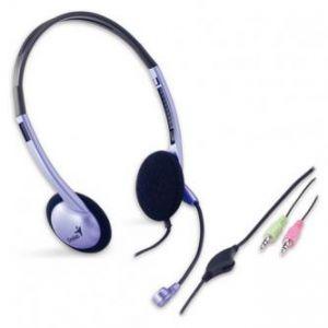 GENIUS, HS-02B, sluchátka s mikrofonem, ovládání hlasitosti, černo-stříbrná, 3.5mm konekto