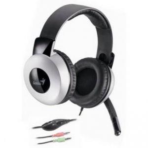 GENIUS, HS-05A, sluchátka s mikrofonem, ovládání hlasitosti, černo-stříbrná, 3.5mm konekto