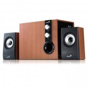 GENIUS reproduktory SW-HF2.1 1205, 2.1, 32W, ovládání hlasitosti, hnědo-černé, dřevěné, 3.