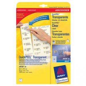 Adresní etikety QuickPEEL průhledné (transparentní) Avery 25xA4, 45,7x21,2mm, 48ks na A4