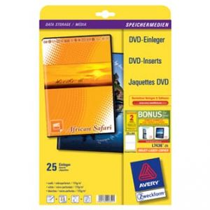 AVERY ZWECKFORM, DVD papírový přebal, bílý, 273 x 183 mm, 25 listů, pro inkoustové tiskárn