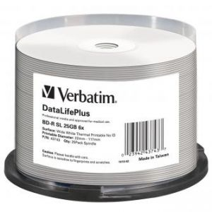 VERBATIM BD-R, Single Layer Wide White Thermal Printable, 25GB, cake box, 43743, 6x, 25-pa