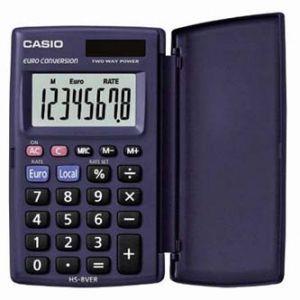 Kalkulačka CASIO HS 8 VER, černá, kapesní, osmimístná, velký displej