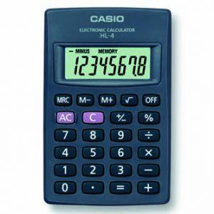 Kalkulačka CASIO HL 4, černá, kapesní, osmimístná