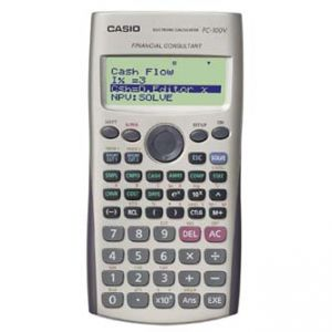 Kalkulačka CASIO FC 100 V, bílá, finanční s 4 řákovým displejem
