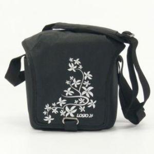 Taška na kameru, polyester, černá, Flower, suchý zip, 17 x 18 x 10 s popruhem přes rameno,