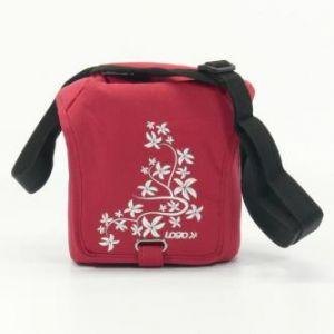 Taška na kameru, polyester, červená, Flower, suchý zip, 17 x 18 x 10 s popruhem přes ramen