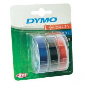DYMO Originální páska 3D S0847750 3ks pro OMEGA 9mm x 3m černý modrý červený podklad SET