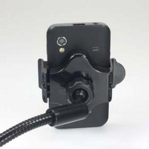 Držák mobilu PDA GPS kloubový, do auta, nastavitelná šířka, černý, plast, LOGO, s USB adap