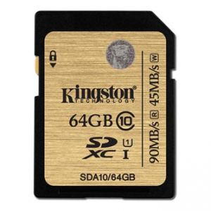KINGSTON Secure Digital Card Ultimate Memory Card, 64GB, SDXC, SDA10/64GB, UHS-I