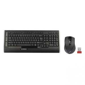 A4TECH Sada klávesnice A4TECH 9300F 2 AAA myš 1 x AA klasická bezdrátová černá USB CZ/US