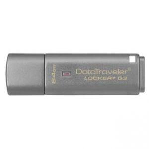 KINGSTON USB flash disk, 3.0, 64GB, Data Traveler Locker+ G3, stříbrný, DTLPG3/64GB